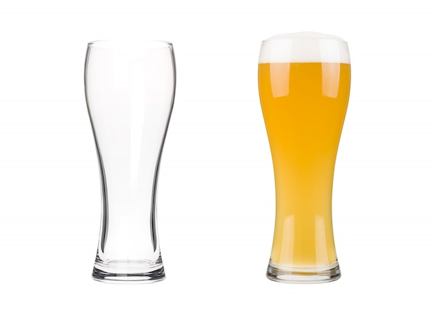 Two beer glasses isolated on white