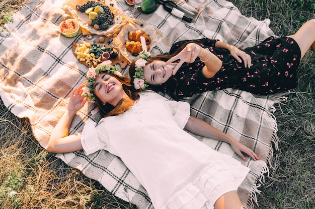 Two best friends on picnic in the field laying on the laid smiling top view friendship