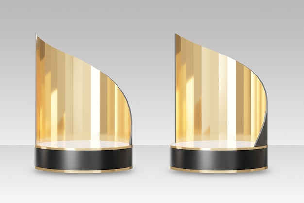 Two black gold stage cosmetic podium with gold curve back. clipping path image. 3d illustration rendering image.