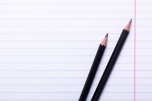 Two black graphite pencils on white sheet in line copy space back to school, education concept