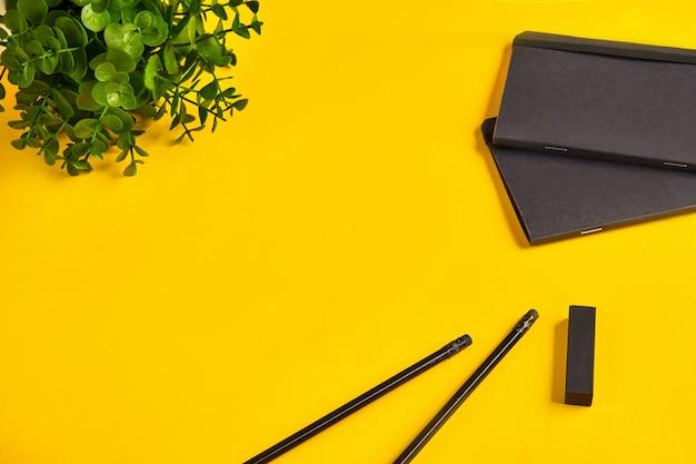 Два черных карандаша, степлер или ластик, блокноты или папки