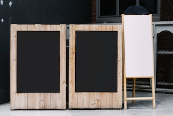 Two blackboards and a flip chart mockup