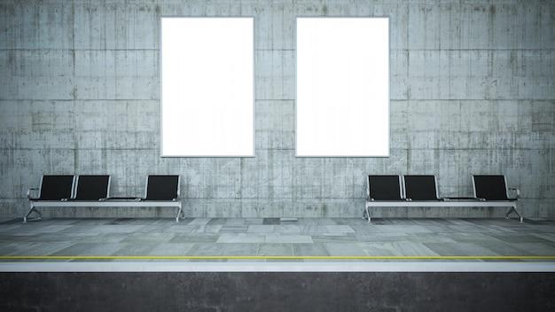 Два пустых рекламных щита на макете станции метро
