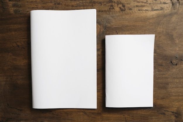 Two blank brochures