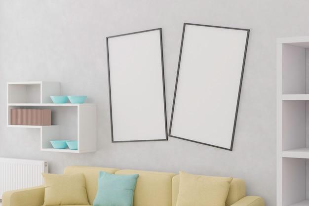 モックアップを描くために壁に2つの空白のキャンバス