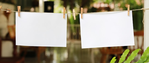 Two blank instant photos hanging on a clothesline.