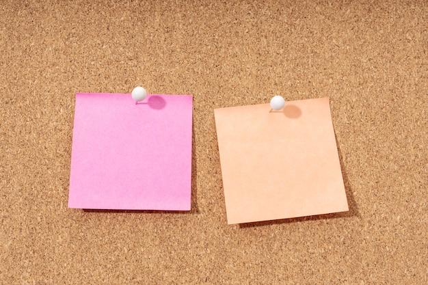 텍스트와 푸시 핀을 추가하기위한 코르크 보드에 두 개의 빈 메모