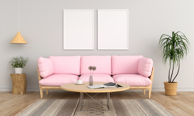 Two blank photo frame in living room