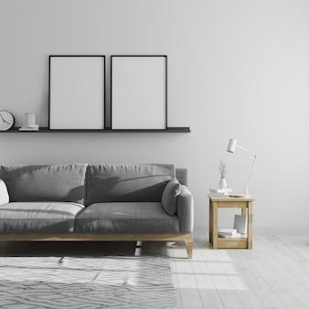 두 개의 빈 포스터 프레임 회색 거실 인테리어, 스칸디나비아 스타일의 거실 인테리어, 회색 소파와 미니멀 룸, 3d 렌더링에서 선반에 조롱