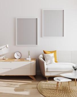 현대 거실 인테리어에 두 개의 빈 포스터 프레임입니다. 모형, 흰색 벽과 현대적인 미니멀리즘 가구가있는 거실. 스칸디나비아 스타일, 거실 인테리어. 3d 렌더링