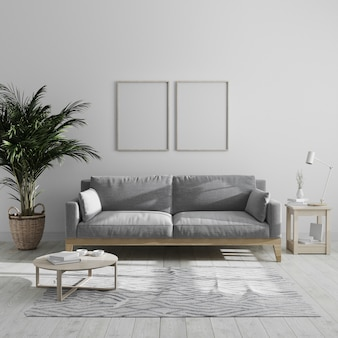 Two blank vertical wooden poster frame mock up in modern minimalist living room interior with gray sofa and palm tree