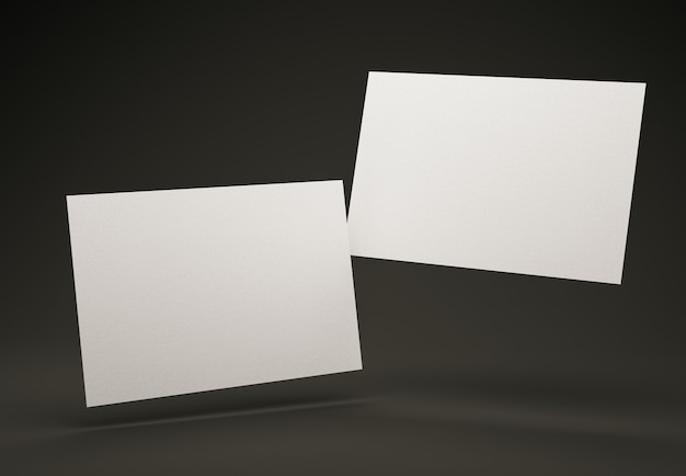 두 개의 빈 흰색 명함 명함 디자인 서식 파일