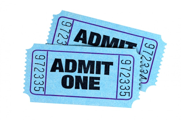 Two blue admit one tickets isolated