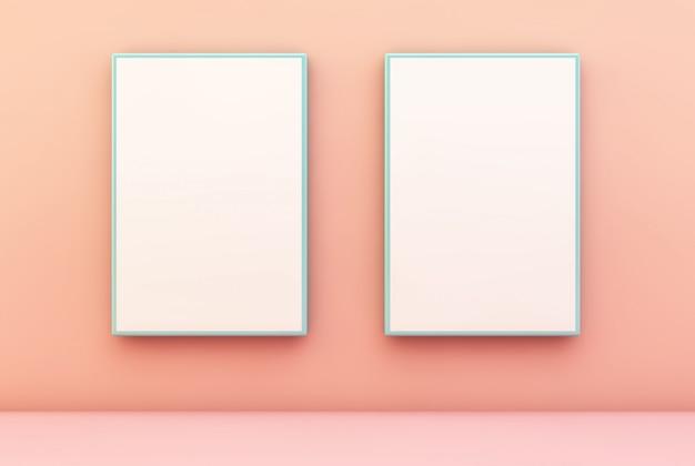 벽에 두 개의 파란색 프레임