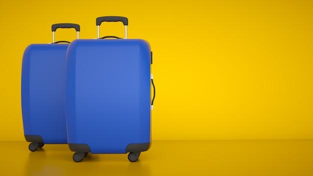 Two blue travel trolleys
