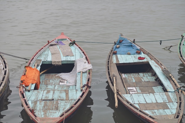 Two boats with their old textures at manikarnika ghat, in the varanasi ganges