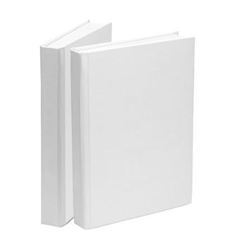 2冊の本。白い背景で隔離の白い紙の本の空白のテンプレート。モックアップ