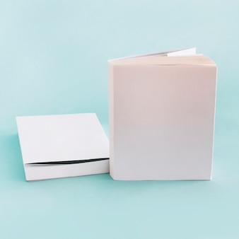 Two books in white wrappers