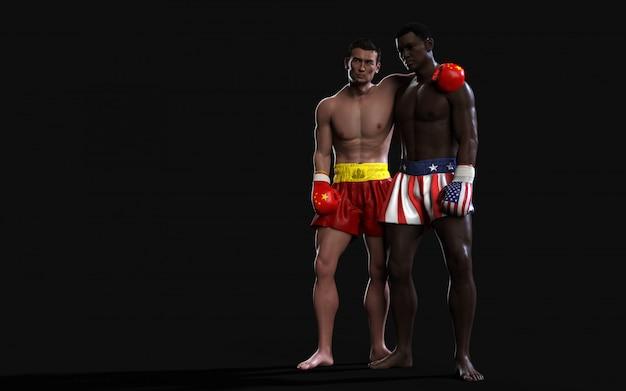 Два боксера борются с американскими и китайскими флагами торговых ударов