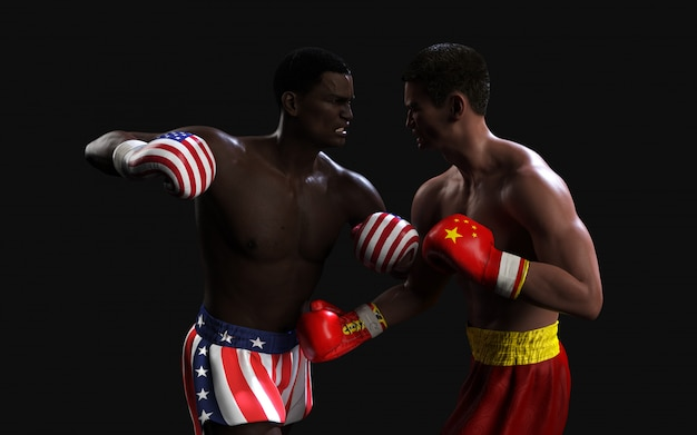 Two boxer fighting us and china flag trading punches