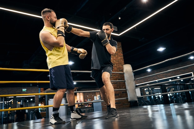 Two boxers fighting a bout in the ring in the middle of the gym