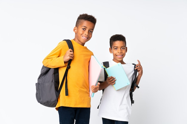 Two boys african american studentswhite background