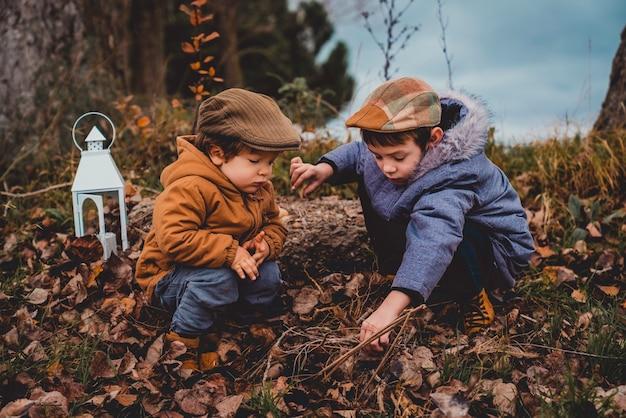 曇りの日に野原で落ち葉を見ているコートを着た2人の男の子