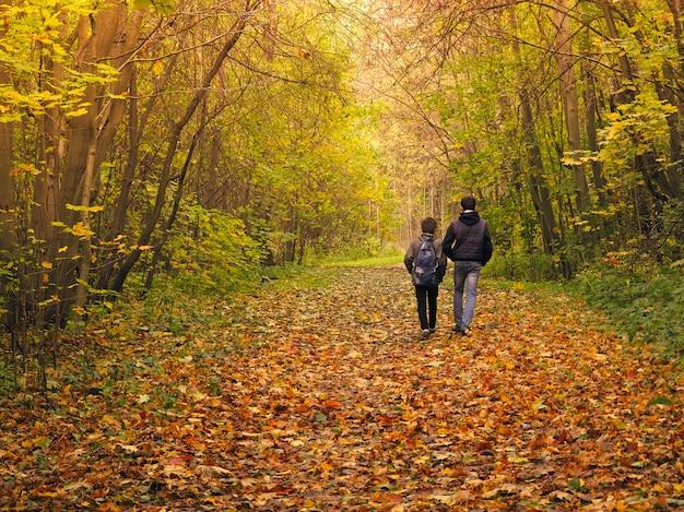 秋の森の2人の男の子。