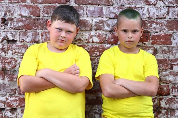 黄色のtシャツを着た2人の男の子が、レンガの壁に腕を組んで立っています。高品質の写真