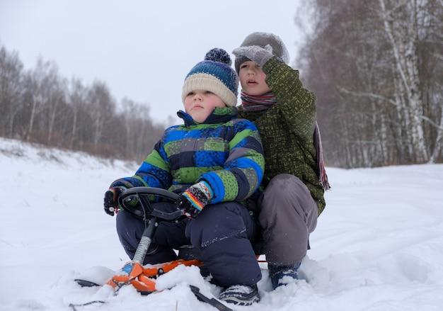 Два мальчика европейской внешности катаются на санках по снегу в лесу во время похода