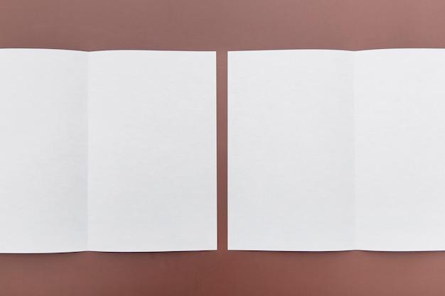 テーブルの上の2つのパンフレット