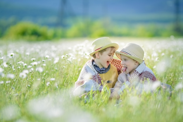 Two brothers children 6 years old in straw hats sitting together in the long grass in the meadow