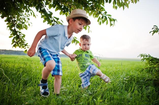 緑の野原で手をつないで歩いている二人の兄弟、兄弟愛。