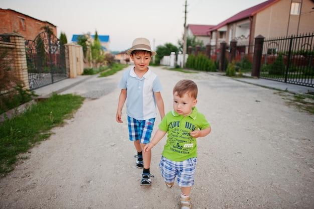 手をつないで歩いている二人の兄弟、兄弟の愛。