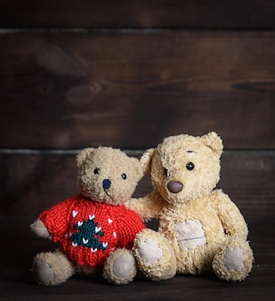 Two brown soft teddy bears are sitting on wooden surface