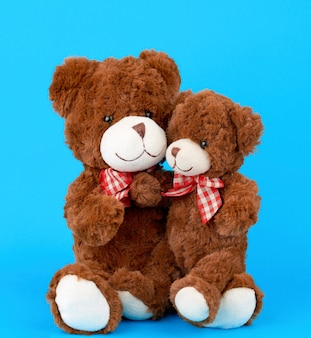 Two brown teddy bears with bows tied around their necks, a small bear sitting in the arms of a large one