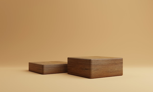 Two brown wooden rectangle cube product stage podium on orange background