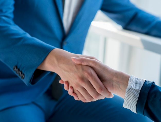 Two business partners shaking hands in office