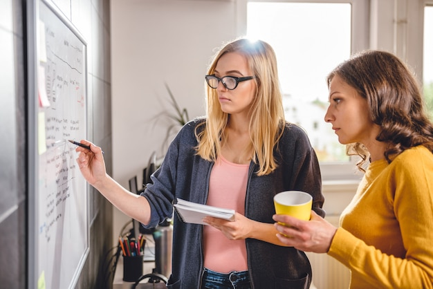 Two business woman discussing in front of the whiteboard