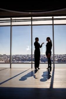 Две бизнес-леди наслаждаются видом на город и разговаривают, стоя у большого окна в офисе
