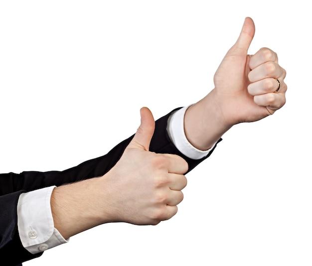 흰색 절연 제기 엄지손가락으로 두 사업가 손