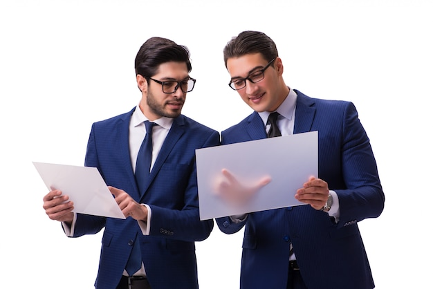 Two businessmen with virtual tablets isolated
