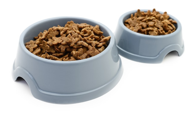 Two ca plastic bowls isolated