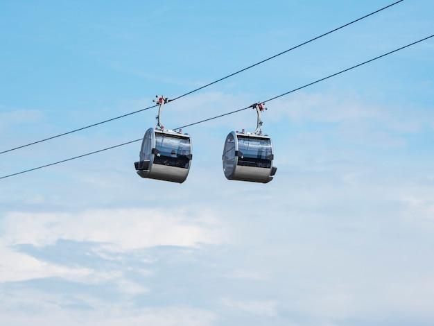 青空を背景に並んだ2つのケーブルカーキャビン