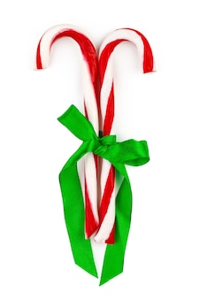 Two candy canes isolated on white background