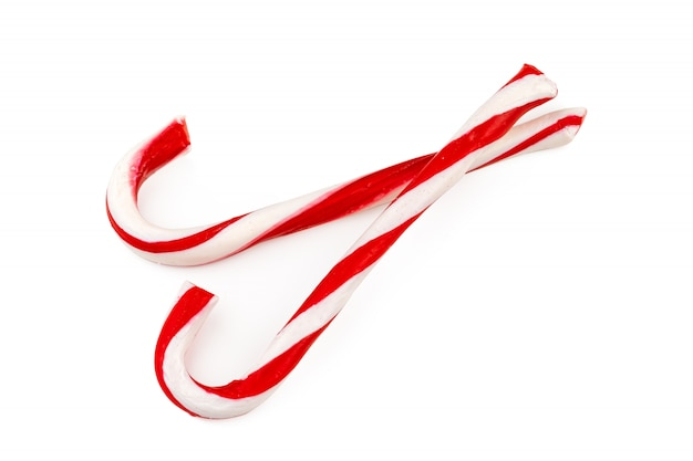 Two candy canes isolated on white