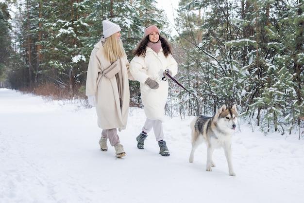 犬を歩く2人の白人の女の子