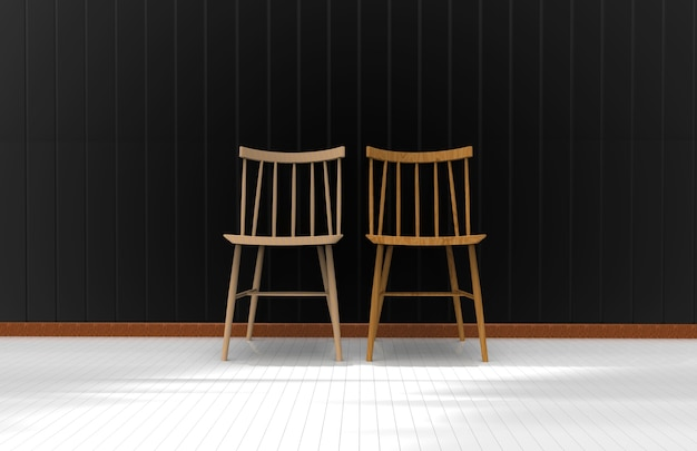 Two chairs on the black wall. 3d rendering