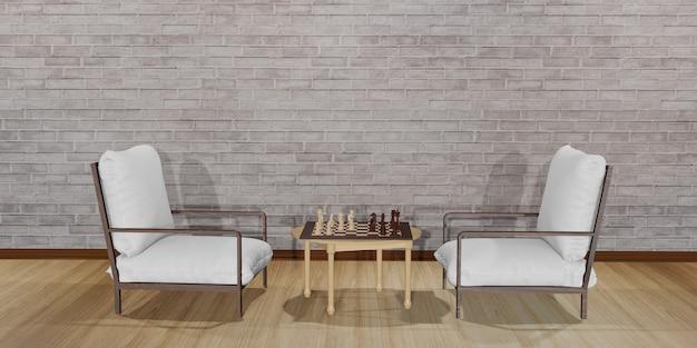 서로 마주 보는 두 개의 의자. 체스 판이있는 테이블이 배치 된 현대적인 흰색 의자가있는 인테리어 디자인 장면