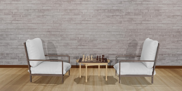 Two chairs facing each other. with a table with a chess board placed interior design scene with modern white chairs